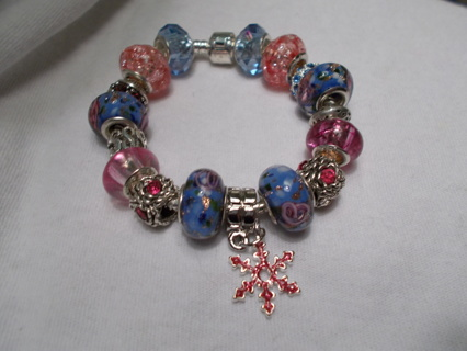 ❅Snow Flake in the Pink❅Euro Bracelet