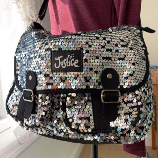 Justice Sequined Messenger Bag Black/Silver