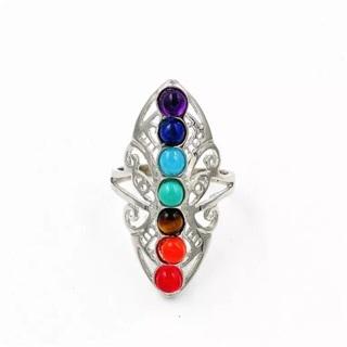 7 Chakra Stones Healing Reiki Dowsing Gemstone Adjustable Ring