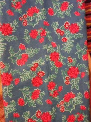 Blue, Red, Orange Floral Fabric