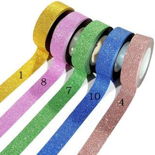 16 Colors Hot Sales 10m Glitter Washi Sticky Paper Masking Adhesive Tape Label Craft Decorative Di