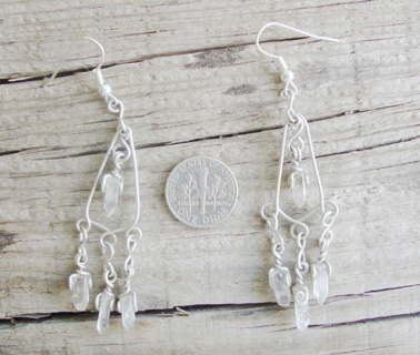 Earrings with Natural Topaz crystals, handmade silver jewelry .925