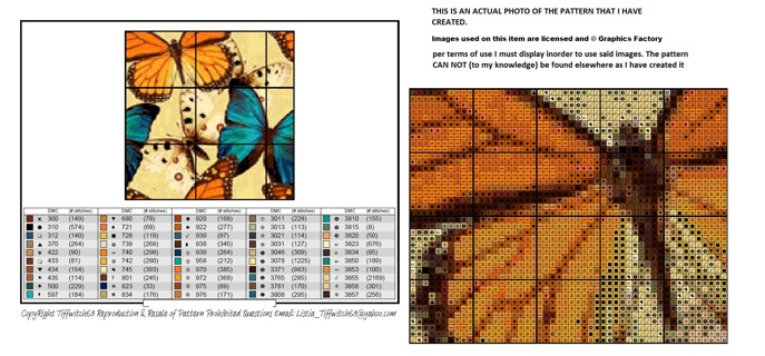 Orange & Blue Butterflies Cross Stitch Pattern