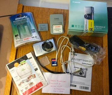 Canon Power Shot SD 1300 IS Digital ELPH 12.1 Mega Pixels 4 X 15 Zoom Plus Lots of Accessories etc.