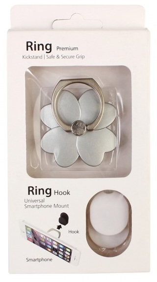 Car Phone Ring Kickstand Safe and Secure Grip Stand Holder - Silver Flower