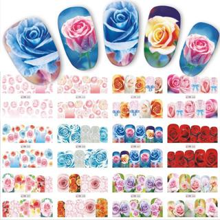 12 Designs/Sets Water Transfer Beautiful Rose Decals Full Decals Nail Sticker Mixed Colorful Flowe