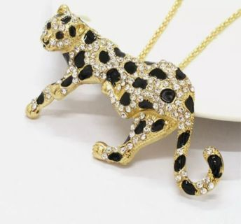 Betsey Johnson panther long necklace New Free ship