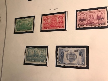 NAVY ISSUE - #790-94 singles 1937 1 THRU 5 CENT NAVY ISSUES MINT