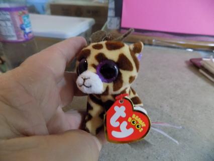 TY teanie beanie boos baby Safari Giraffe with big purple eyes