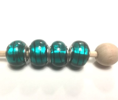 Euro beads, turquoise, glass