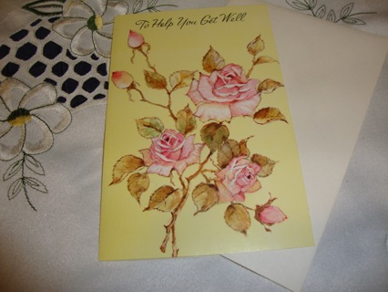 """""""Warm Get Well Wishes"""" ~Pink Roses ~ Get Well Card #4 ~ Free shipping"""