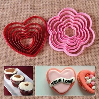 6PCs Heart Fondant Cake Sugar Craft Decor Mold Cutter Tool Cookie Biscuit DIY
