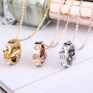 Trendy Stainless Steel Womens Necklace Pendant Women Crystal Gold Rose Gold Silver Colors Female Lov