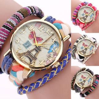 Bohemia Women Knit Weave Braid Bracelet Eiffel Tower Butterfly Dial Wrist Watch