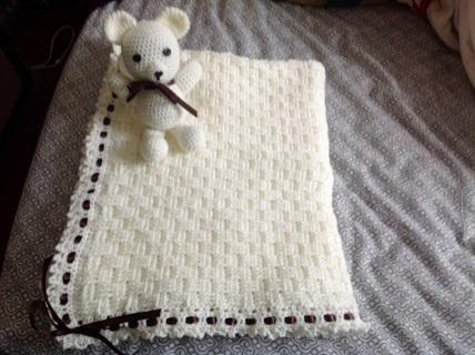 Beautiful handmade crochet baby afghan NEW Teddy Bear infant blanket