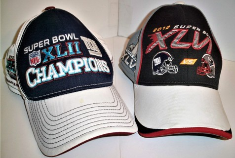 2 Souvenir Super Bowl Caps: 2008 Super Bowl XLII & 2012 Super Bowl XLVI - Like New condition