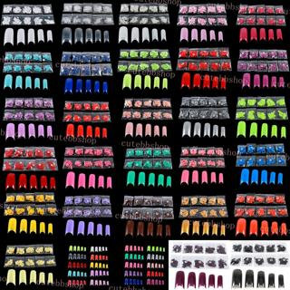 Multi-Color 500 French Style False Fake UV Gel Acrylic Artificial Nail Art Tips