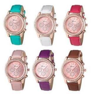 Women's Luxury Geneva Roman Watch Crystal Leather Band Analog Quartz Wrist Watch