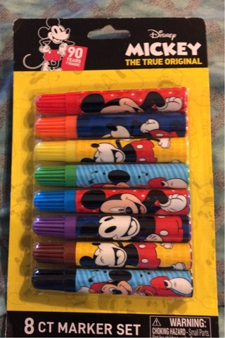 BNIP Disney's, Mickey Mouse: 8 Piece Marker Set. Non Toxic with 8 GREAT Colors!