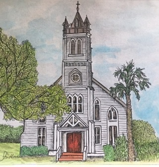 "CATHOLIC CHURCH IN WALLIS TEXAS - 5 x 7"" Art Card by artist  Struthers - GIN ONLY"