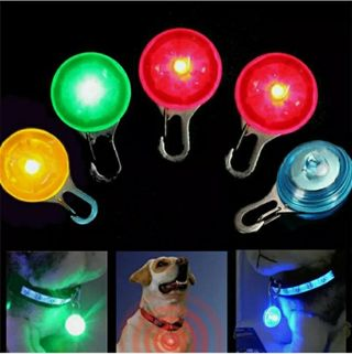 Pet Dog Cat Puppy LED Flashing Collar Tag Clip Buckle Night Light Safety Pendant