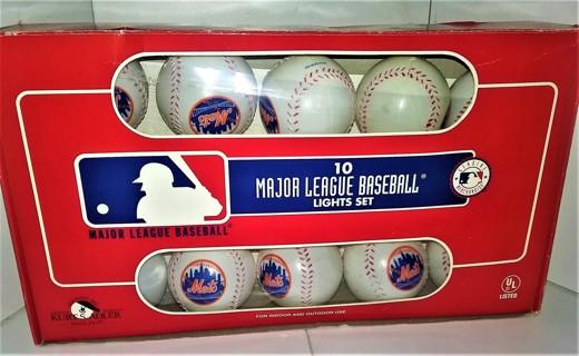 MLB NY Mets set of 10 plastic ball lights by Kurt S. Adler - working (tested)