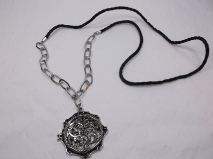 Stainless Steel Dragon Pendant with Chains & Black Cording