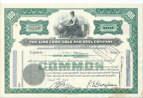 Lima Cord Sole and Heel stock certificate 1940 company made Boy Scout shoes