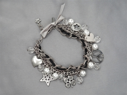 Charm Bracelet layered free spirit pearl crystal ribbon rope white gold NWT