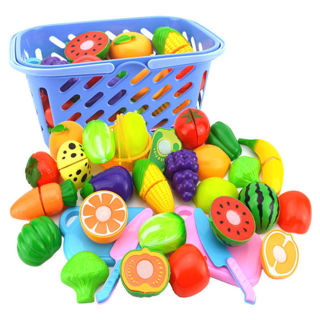 Kids Toys Fruit Vegetable Food Cutting Set Reusable Role Play Pretend Kitchen