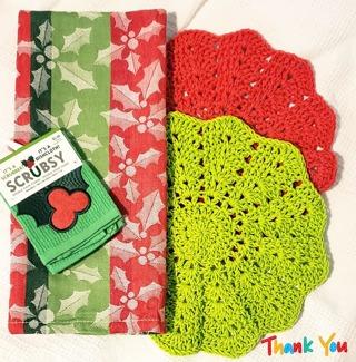 "Crochet 2 - 9"" Dish Cloth/Wash Cloths/1 Dish Towel 1 SRUBBY"
