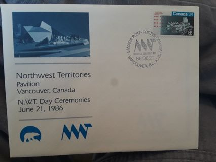 FDC (FIRST DAY COVER) NORTHWEST TERRITORIES PAVILION VANCOUVER, CANADA Free Shipping! GIN Bonus! ♡