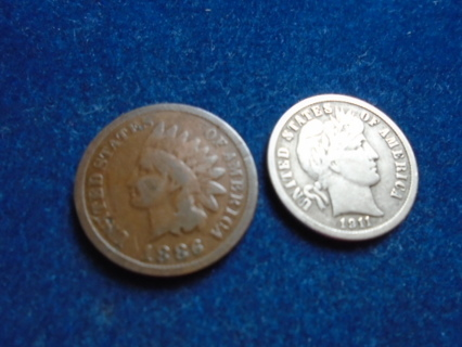 1886 & 1911 OLD U.S. COINS.. FULL BOLD DATES!
