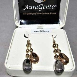 Sterling & 14k TRI-Gold Dangle Earrings AuraGento 3.3 Grams