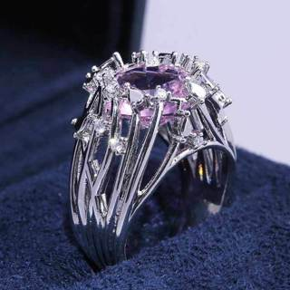 Pink Cubic Zirconia Ring Size 6