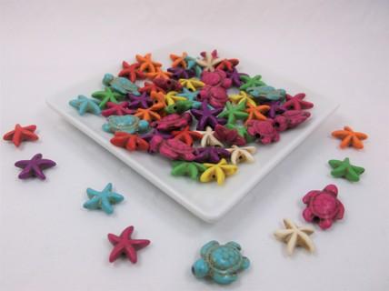 Beachy Howlite Stone Beads - Turtles & Stars