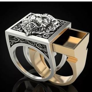 Fashion Lion two tone ring
