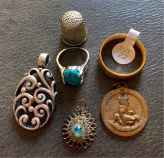 Mixed Lot Jewelry Rings Charms Pendants thimble