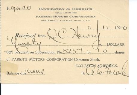 Parenti Motors Common Stock receipt 1920