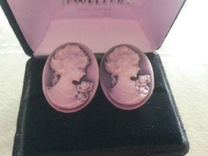 Vintage Cameo Clipback Earrings