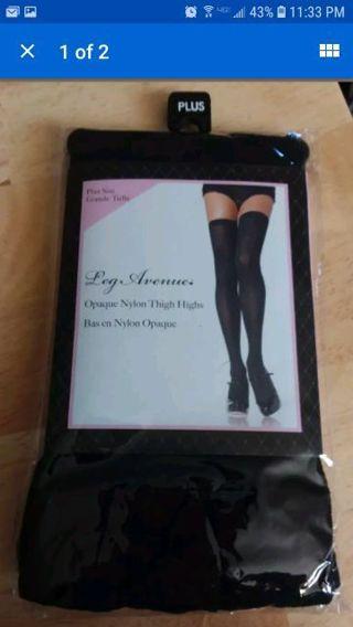 50c90a562bf Free  Plus Size Full Figure Opaque Nylon Thigh Stockings - Women s ...