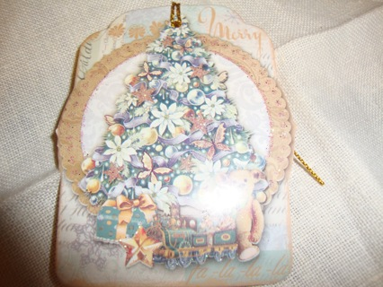 Teddy Bear sitting under Glitter Christmas Tree ~ Gift Tags ~ Free Shipping