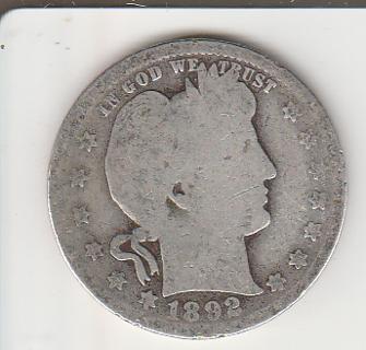 Red Hot Silver Barber Quarter 1892