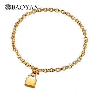 Brand New 316L Stainless Steel Gold Choker Necklace For Women Unique Lock Pendant 50cm Women Neckl