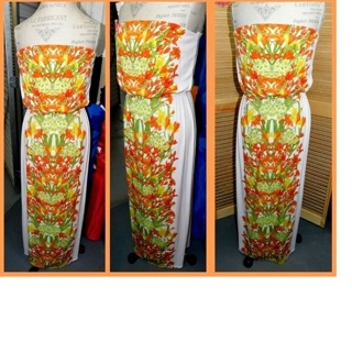 MAXI DRESS BISOU BISOU Womens Size 8, Gorgeous Strapless Floral, Stretchy LOVELY WEAR
