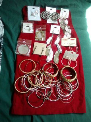 Size small red dress/skirt with assorted jewelry **FREE SHIPPING**