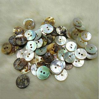 100 Pcs / Lot Natural Mother of Pearl Round Shell Sewing Buttons 10mm