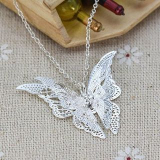 Women Fashion Jewelry Charm Alloy Hollow Butterfly Pendant Chain Necklace Gift