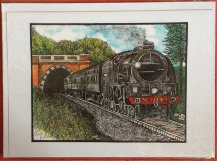 "LOCOMOTIVE EMERGING FROM TUNNEL - 5 x 7"" art card by artist Nina Struthers - GIN ONLY"