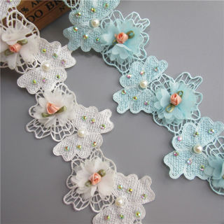 1m Diamond Flower Pearl Lace Edge Trim Ribbon Embroidered Applique Sewing Craft